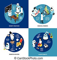 Robots Isometric Design Concept