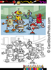 robots, kleuren, groep, spotprent, pagina