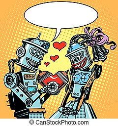 Robots man woman love Valentines day and wedding pop art retro style. Technology and emotions. Humor. Postcard on Valentine day. A Declaration of love. A red heart.