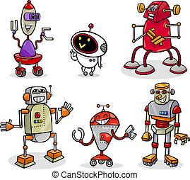 robots, ou, droids, dessin animé, illustration, ensemble