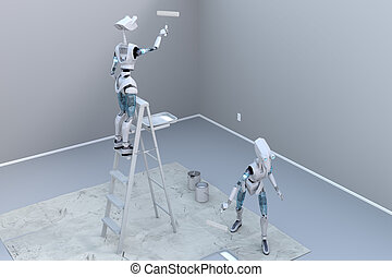 Robots Painting a Room - Two robots painting a room using...