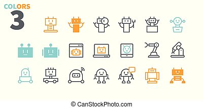 Robots Pixel Perfect Well-crafted Vector Thin Line Icons 48x48 Ready for 24x24 Grid for Web Graphics and Apps with Editable Stroke. Simple Minimal Pictogram Part 1