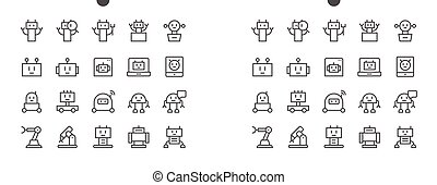 Robots Pixel Perfect Well-crafted Vector Thin Line Icons 48x48 Ready for 24x24 Grid for Web Graphics and Apps with Editable Stroke. Simple Minimal Pictogram