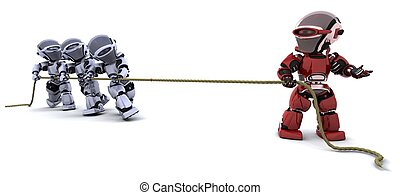 robots pulling on a rope - 3D Render of robots pulling on a...