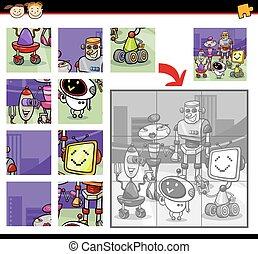 robots, puzzle, puzzle, jeu, dessin animé