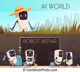 Robots Repair Horizontal Banners Set