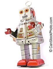 robots - retro robot on white