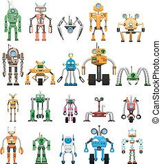 Robots collection on white. Industrial manipulating advanced robots. Vector poster of modular collaborative educational service androids working machines. Things of future made of plastic and steel.