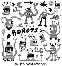 Robots - set vector icons