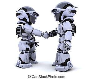 robots shaking hands - 3d render of two robots shaking hands