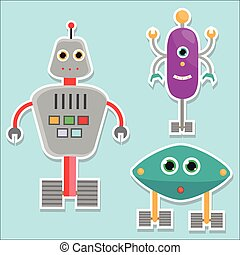 Robots stickers. vector illustration, isolated design elements