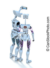 Robots taking Selfie - Two robots taking a selfie against a...