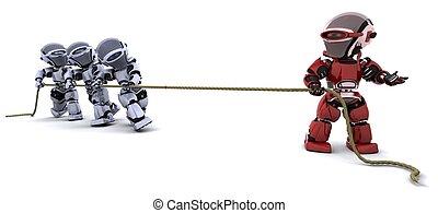 robots, traction, sur, a, corde