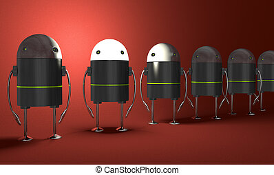 robots, une, incandescent, perspective, tête, rang