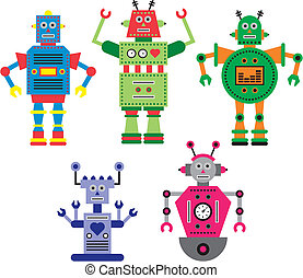 Robots - Vectorized colorful abstract robots.