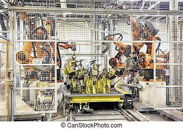robotter, en vogn, fabrik