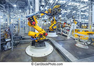robotter, en vogn, plante