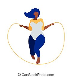 Robust black woman jumping rope character vector ...