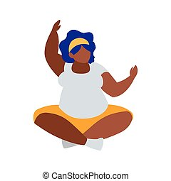 Robust black woman seated character vector illustration ...