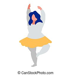 Robust woman dancing ballet character vector illustration ...