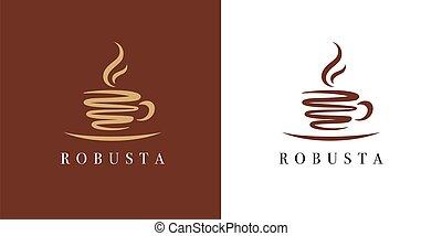Premium coffee cup shop logo. Cafe mug icon. Latte symbol. Espresso hot drink sign. Robusta cappuccino emblem. Vector illustration.