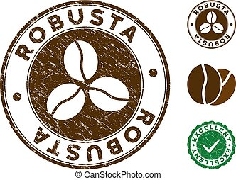 Robusta Stamp with Grungy Effect - Robusta brown stamp....