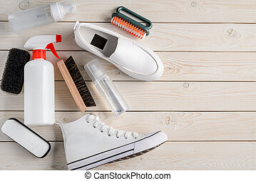 rocíos, blanco, esponja, vario, cepillos, tools:, shoes, ...