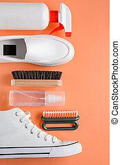 rocíos, calzado, limpiador, blanco, fondo anaranjado, ...