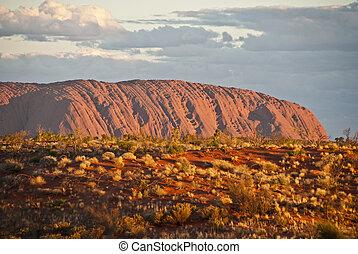 roca, agosto, norteño, ayers, territorio, australia, 2009