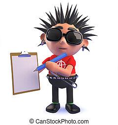 roca del punk, carácter, tenencia, caricatura, portapapeles, lápiz, 3d