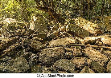 roca, en, el, seco, cascada, en, verano