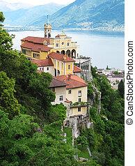 roca, lago, suiza, sasso, medieval, del, maggiore, ...