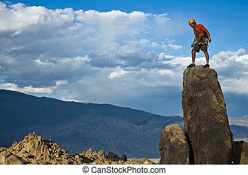 roca, nearing, summit., trepador