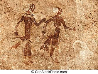 roca, tassili, argelia, pinturas, n'ajjer