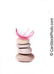 roca, y, rosa, pluma