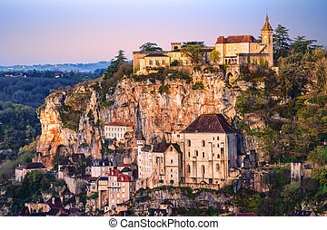 Rocamadour village, France, is one of France's most important tourist destinations. Rocamadour is a UNESCO World Heritage Site as part of the pilgrim route of the Way of Saint James