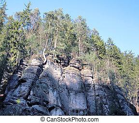 rocas, en, el, mañana temprana, checo, suiza