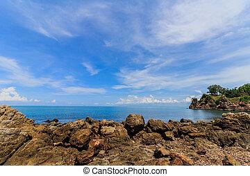 rocas, en, el, mar, mañana temprana, time.