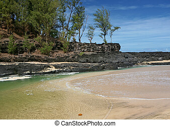rocas, en, un, hawaiano, playa