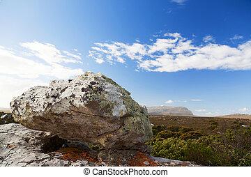 rocas, y, vasto, estepa, paisaje
