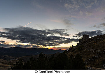 Rocca Calascio is a mountaintop fortress or rocca in the Province of L'Aquila in Abruzzo, Italy