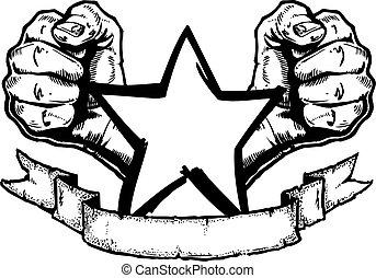 roccia, bandiera, metallo pesante, tatuaggio