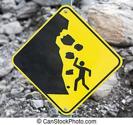 roccia, cadere, segno, pericolo