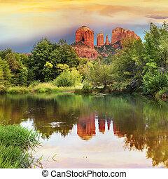 roccia, cattedrale, sedona, arizona