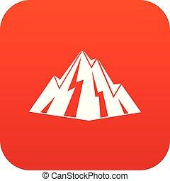 roccia, digitale, rosso, icona
