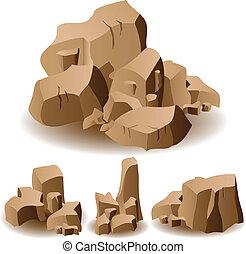 roccia, e, pietra, set