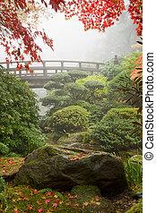roccia, e, ponte, a, giardino giapponese