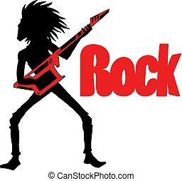roccia, illustrazione, uomo