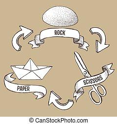 roccia, manifesto, schizzo, carta, forbici