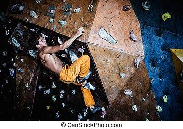 roccia, muscolare, parete, uomo, attivo, dentro, roccia-ascensione